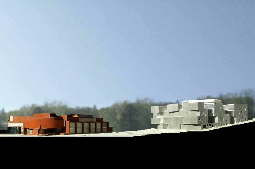 (c) Steven Holl Architects, maqueta de estudio en relación al centro de Artes Oeste.